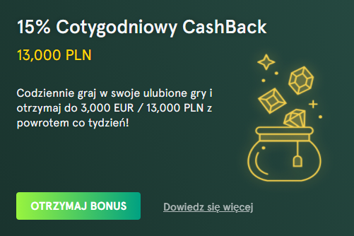 casinia Cotygodniowy CashBack