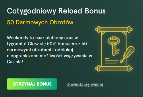 casinia Cotygodniowy Reload Bonus