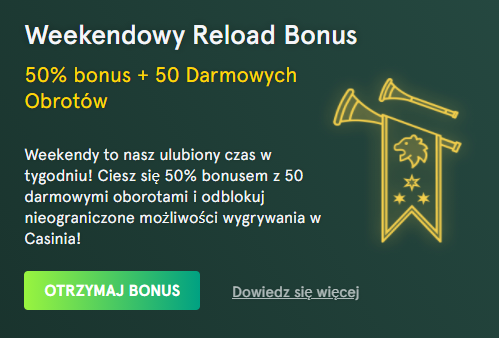 Weekendowy Reload Bonus casinia